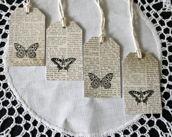 Butterfly Gift Tags // Set of 4 Gift Tags // Vintage Script Gift Tags // Shabby Chic Gift Tag // Paper Decoration