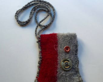 Grey and Red Hand Knit Fun Felt Phone Bag - A Line Down the Middle