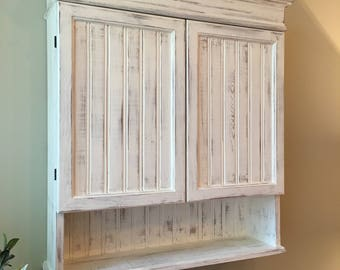 bathroom wall cabinets white. Distressed White Cabinet  Bathroom Kitchen Hanging Wall Shabby Chich cabinet Etsy