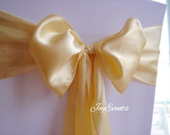 25x Light Gold Chair Sashes Bow Cover for Wedding Engagement Event Party Reception Ceremony Bouquet