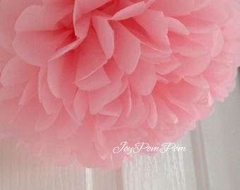 6x  Pink Tissue Paper Pom Poms 21st First Birthday Party Girl Baby Shower Wedding Engagement Anniversary Party Venue Decorations