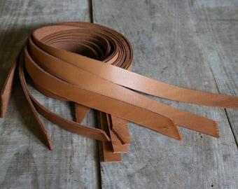 SECOND choice / set of 6 straps leather color CAMEL width 2 cm