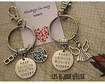 1 Angel or Tree Keychain Keep Believing Miracles Happen Keychain Friendship Keychains (KC32)