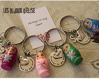 1 Matryoshka Keychain Family Keychain Friendship Keychains Family Keychain (KC58)
