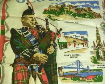 Vintage souviner linen tea towel Scotland