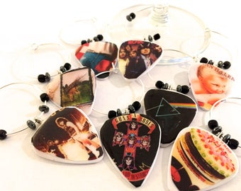 Classic Rock Album Guitar Pick Wine Glass Charms