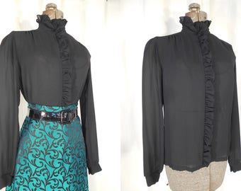 1970s Blouse - High Collar Victorian Blouse, 70s Black Steampunk Gothic Blouse