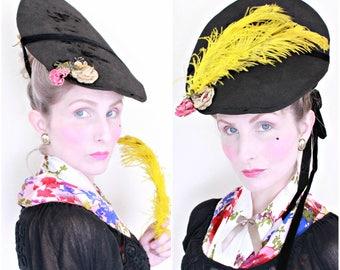 Antique Hat / 1700s Hat / Bergère Hat / Rococo / Roses / Veil / Plumes