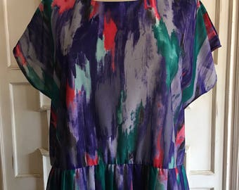 1970's Anthony Richards Paint Brush Strokes Pleated Skirt Dress, Plus Size 18/20