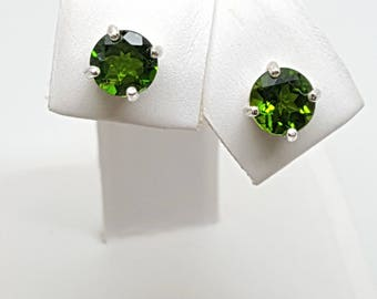 1.74ctw Russian Chrome Diopside Round Sterling Silver Stud Earring