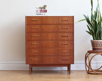 Mid Century Danish Modern Locking Teak Highboy Dresser