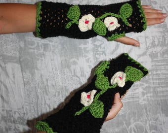 Black fingerless gloves crochet embroidery flowers