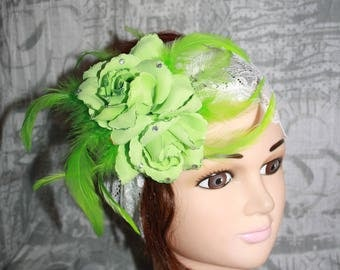 White, wide lace headband and elastic AUDREY