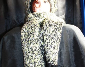 beret and scarf all crocheted yellow/green and black