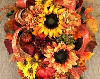 Fall Colors Fall Swag Fall Wreath Thanksgiving Swag Thanksgiving Wreath Halloween Orange Door Wreath Thanksgiving Wreath Fall Wreath Ideas