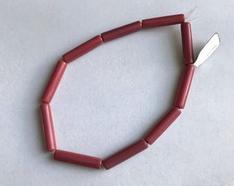 Vintage Lucite Muted Red Marbled Tube Beads