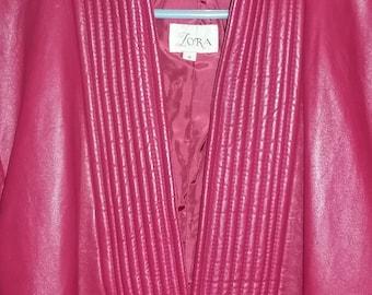 Red Leather Ladies Jacket/Blazer size 6 Unique