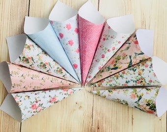 Confetti cones sweet cart floral tea party wedding