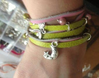 Bracelet leather pink/green anise