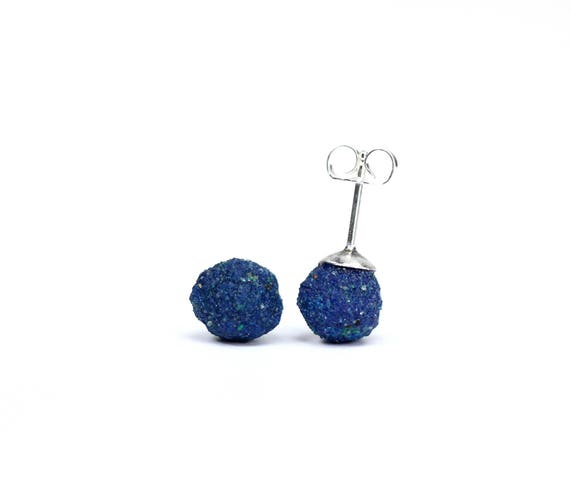 Azurite earrings - blueberry earrings - silver ball earrings - blue stone earrings - EAZ2
