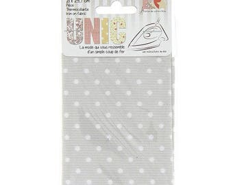 Coupon fusible fabric 21 x 29, 7cm grey with white polka dots
