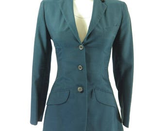 Vintage 60s Nubby Fleck Blazer Womens XS Brittany Flare Petite Teal Wool [H68D_1-2]