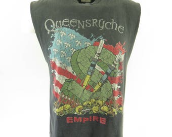 Vintage 90s Queensryche Band Shirt Mens L 1991 Building Empires Money Needles [H93O_0-8]