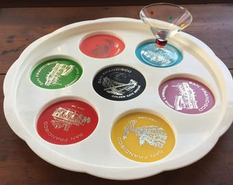 Vintage Beverage Tray San Francisco Souvenir featuring It's Famous City Attractions
