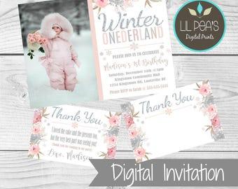 Winter 1st Birthday Invitation, Winter ONEderland 1st Birthday Printable Invitation, Winter Floral 1st Birthday Invitation, Winter Invite