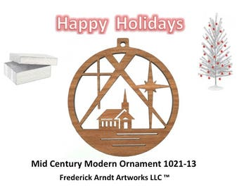 1021-13 Mid Century Modern Christmas Ornament