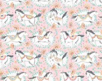 NEW! Pre-Order Fillies Pink Fabric Yard, Hill & Dale Collection 2017, by Ana Davis For Blend Fabrics, 113.113.01.1