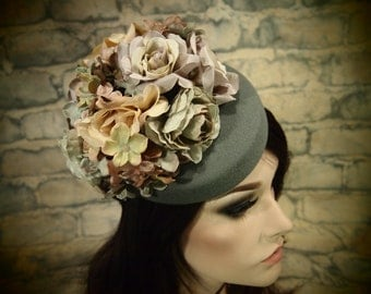 Pastel and Gray Wool Pillbox Cocktail Hat