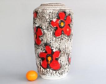 XL Large Scheurich vase 517-38 West german pottery floor vase fat lava flower power red black orange white mid century modernist sixties