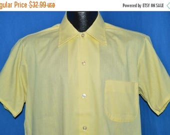 ON SALE 70s Canary Yellow Button Down Deadstock Shirt Medium
