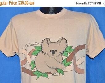 ON SALE 80s San Diego Zoo Baby Koala Bear 2 Sided Beige Vintage t-shirt Medium