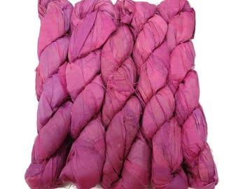 New! Recycled Sari Silk Ribbon, 100g skeins , Irises