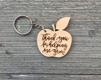 Thank you for helping me grow Keychain, Teacher Appreciation Gift, Gift for Teachers, Thank You Gift, Growth Keychain, Apple Keychain