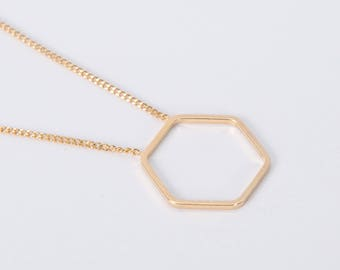 Minimal Gold Plated Necklace Disc Gold Hexagon Golden Necklace Honeycomb