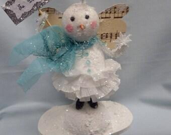 Paper Clay-Paper Mache Snowman/Snowlady Vintage Style Folk Art Christmas Decor Snowman