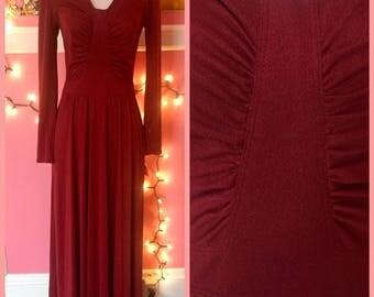 70s French brand merlot long sleeve maxi dress