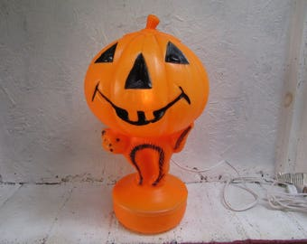Empire Halloween Jack-O-Lantern Man with Cat. Blow Mold. Pumpkin.  Lighted with Electrical Cord. Vintage