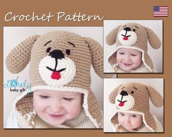 Earflap teddy bear hat crochet pattern toddler hat baby crochet hat pattern baby hat pattern puppy dog hat crochet pattern crochet animal dt1010fo