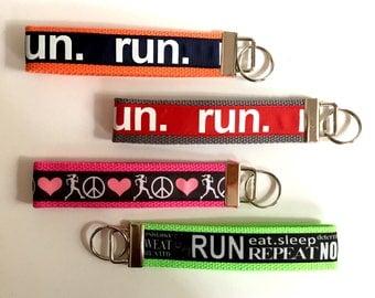 Running Keychain Cross Country Key chain Run Wristlet Key Chain Girls on the Run Marathon Half Marathon 13.1 26.2 10K 5K  Runner Girl