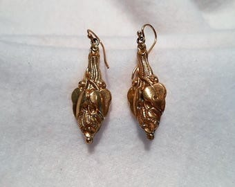 Antique Victorian Gold Filled Etruscan Revival Earrings, c. 1880
