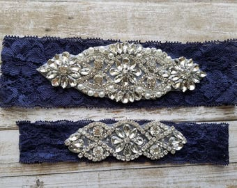 Sale -Wedding Garter and Toss Garter-Crystal Rhinestone Garter Set  - Style G28822