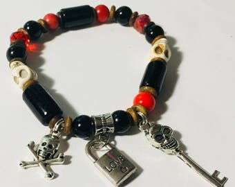 148# Pirate black and red bracelet