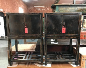 FREE SHIPPING WITHIN U.S. Pair Of Antique Chinese Cabinets In Distressed  Black (Los Angeles