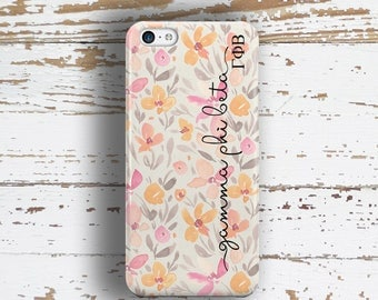 Gamma Phi Beta sorority iphone case for Iphone and Samsung, Pink floral, GPB Alumna, mom or initiation bid day gifts (1757)
