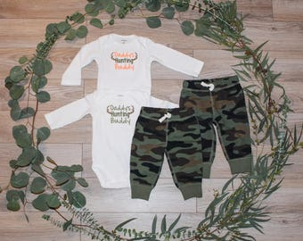 Baby Boy Deer Hunting Outfit. Daddy's Hunting Buddy. Camouflage Pants. Deer Antler Embroidery. Toddler Boy Hunting Clothes