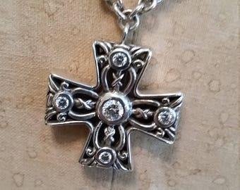 Vintage Maltese Cross Sterling Necklace